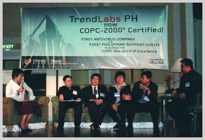 2002: TrendLabs™ headquarters in the Philippines achieved COPC-2000 Standards certification from the international Customer Operations Performance Center organization, making Trend Micro the first antivirus software company to achieve this certification